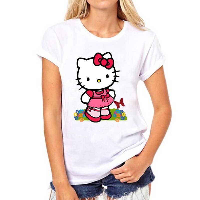 hello kitty women del gatto di modo di estate grunge maglietta del fumetto di abbigliamento Coreano T-shirt delle donne estetica vestiti tshirt donna