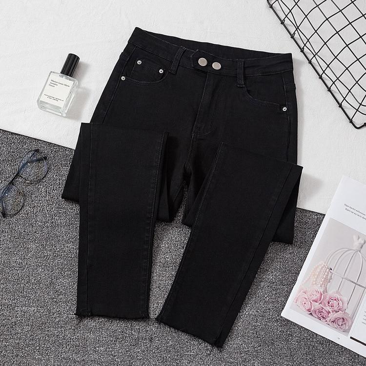 Jeans Women Spring Black Gray Plus Size High Waist Slim Stretch denim Pencil Capri Pants Feminino