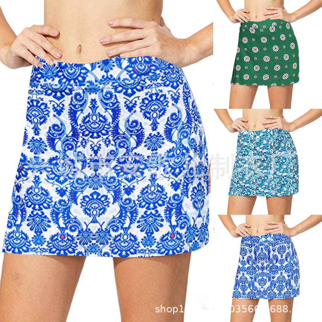 Europe And America WOMEN'S Beach Dress Skirt-Printed Mock Two-Piece Boxer Anti-Exposure One-Piece High-waisted Skirt