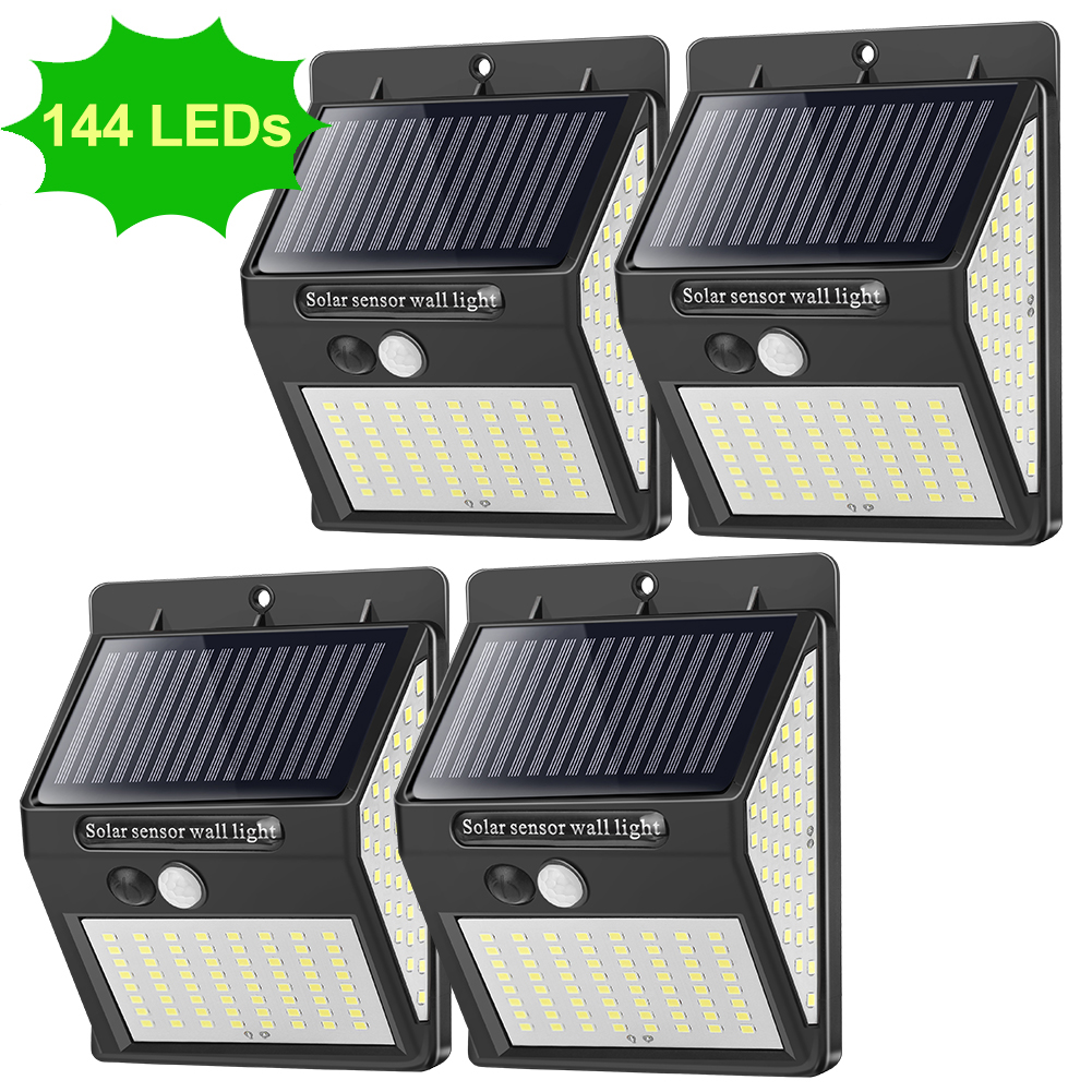 144 LED Solar Light Outdoor Solar Lamp PIR Motion Sensor Waterproof Solar Focus Sunlight For Garden Decoration Street Lantern