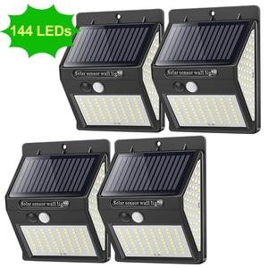 144 LED Solar Light Outdoor Solar Lamp PIR Motion Sensor Waterproof Solar Focus Sunlight For Garden Decoration Street Lantern(China)