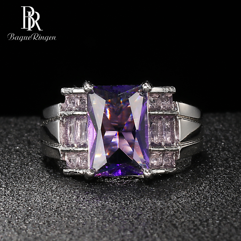 Bague Ringen Geometry Silver 925 Jewelry Gemstones Ring for Women Rectangle Amethyst High Grade Delicate Female Gift Wholesale