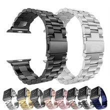 Pulseira de aço inoxidável para apple watch band 40mm 44mm 5 4 3 pulseira de relógio 38mm 42mm pulseira esporte metal pulseira para iwatch 3 2 1