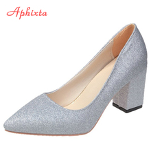 Aphixta szpiczaste buty z palcami damskie czółenka 7 5cm kariera kwadratowe obcasy Bling moda praca biuro Party buty Super duży rozmiar 49 50 tanie tanio podstawowe Kwadratowy obcas CN (pochodzenie) Tkanina z cekinami Z niewielkim szpicem Wysoka (5 cm-8 cm) Dobrze pasuje do rozmiaru wybierz swój normalny rozmiar