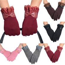 1PC Gloves Winter Keep Warm Touch Screen Mitten Lace Bownot Comfortable Outdoor Sport Plush Fashion Women