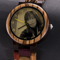 Relojes madera hombre y mujer con impresión de imagen personalizada para parejas 5