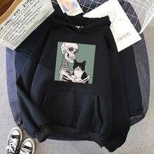Inverno casual moda plus size solto gótico gato crânio impressão diversão harajuku manga longa hip hop feminino vintage hoodies moletom