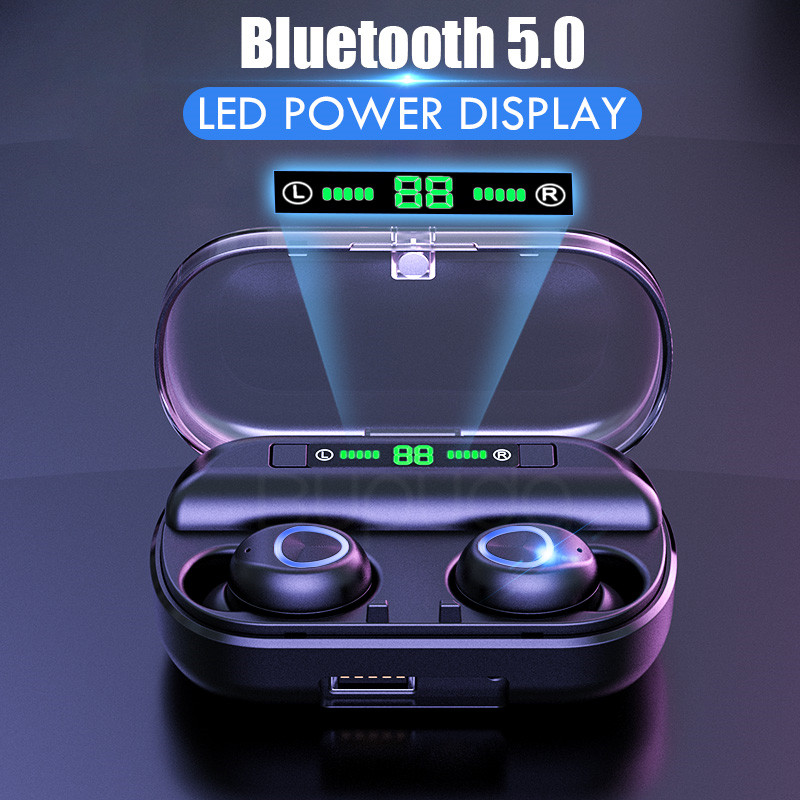 Wireless Bluetooth 5.0 Earphones 8D Stereo Mini Wireless Headphone Waterproof Sport Earbuds Headset Earphone Mic + Charging Case