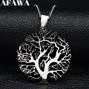 2020 Fashion Tree of Life StainlessSteel Necklace for Women Silver Color Necklaces Pendants Jewelry collar mujer N37S01(China)