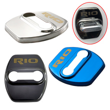 4Pcs/Set Car Styling New Car Door Lock Cover Protective Caps For K2 KIA RIO 2017 2018 2019 2020 Years Stainless Steel 3 Colors lsrtw2017 stainless steel car co pilot storage box switch handle trims for kia kx cross k2 rio 2017 2018 2019 2020