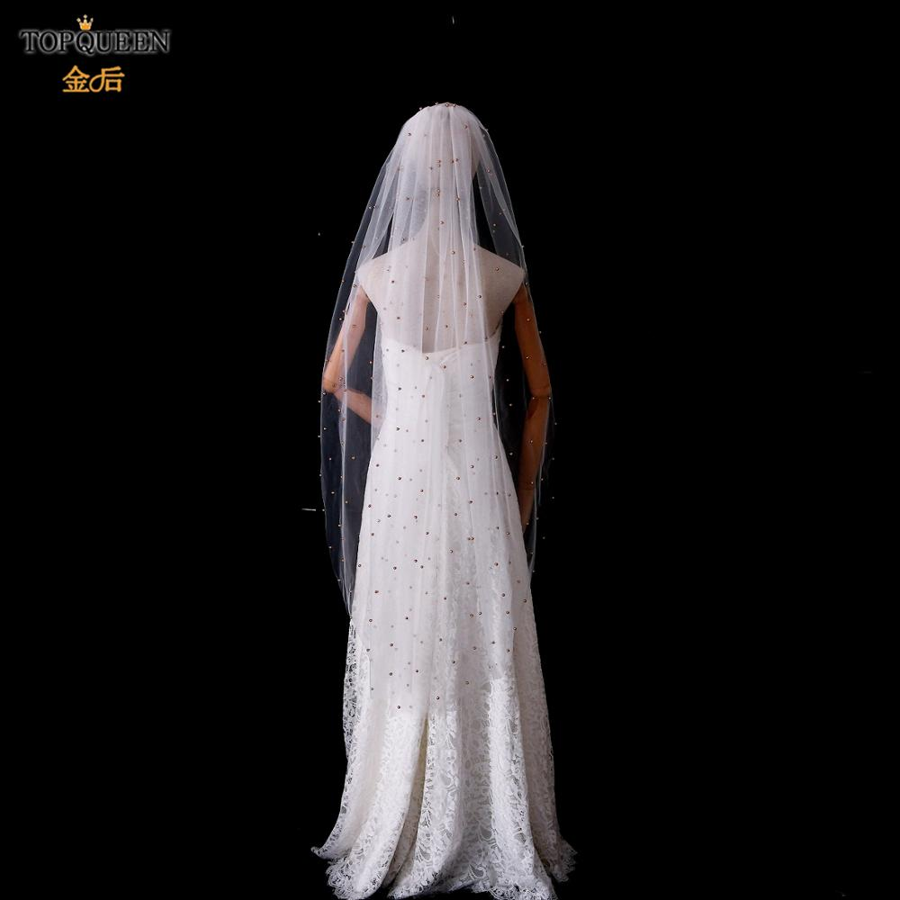 TOPQUEEN V11 Real Photos 1.4M Wedding Veil White Ivory  Tulle with Champagne Pearls Beautiful Fingertip Bridal Marriage Veil