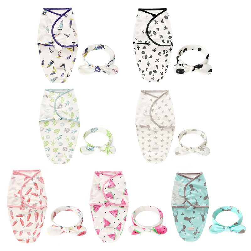 2 Pcs/set Fashion Baby Newborn Cotton Blanket Sleeping Bag Headband Set Infants Swaddle Rabbit Ear Hair Accessories