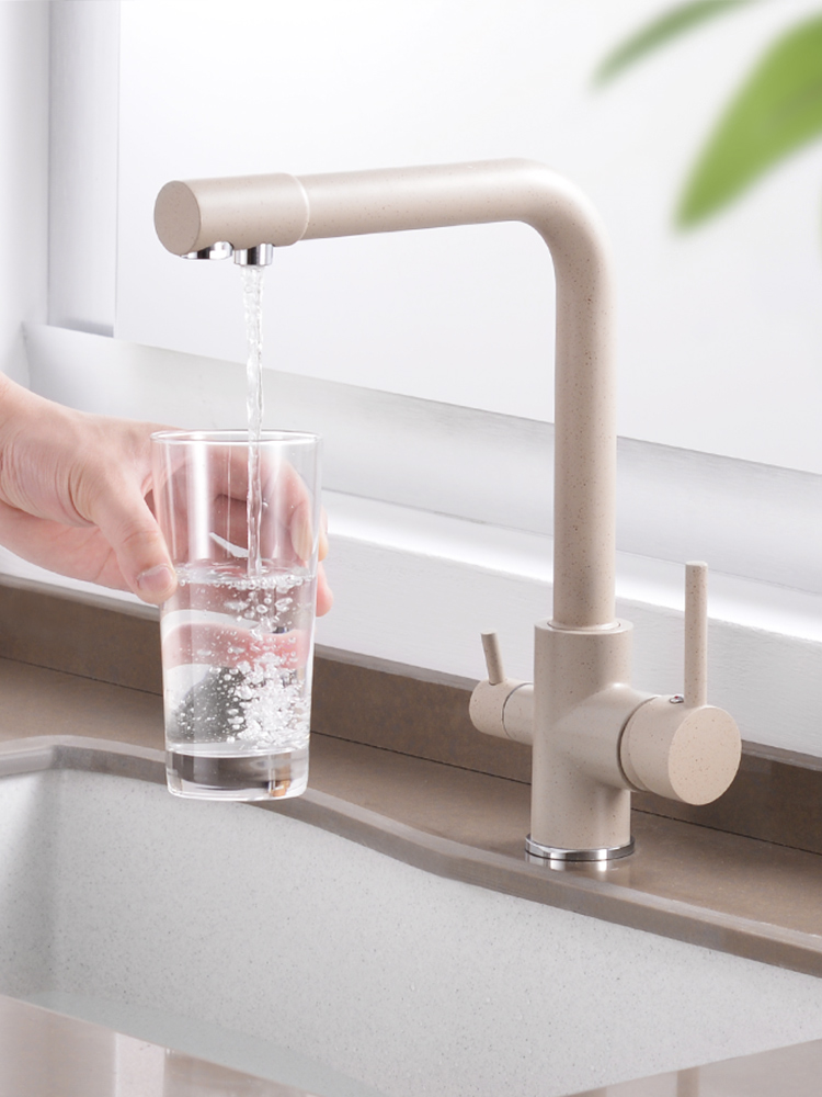 Water Kitchen Faucet Sink-Tap DRINKING-FILTERED Bend Rotation Brass Double 360-Degree