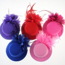 Y el tocado de la novia de los Estados Unidos 13 cm de encaje de red de lana de pluma tocado flor pequeño sombrero clip de pelo de red de hilo