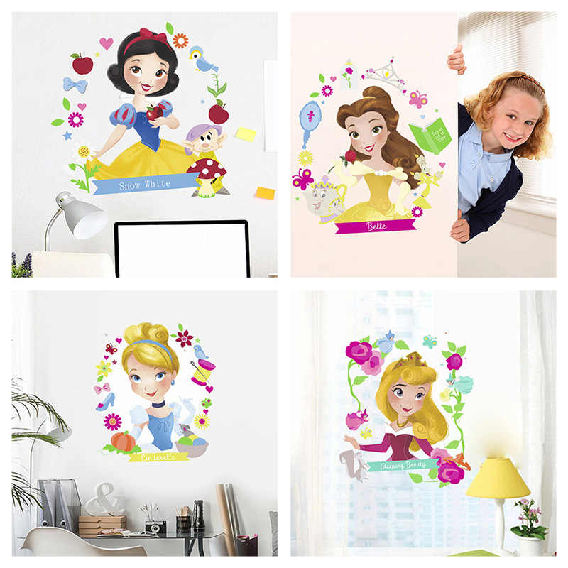Rapunzel Snow White Cinderalle Belle Ariel Princess Wall Stickers For Kids Room Decoration Diy Cartoon Wall Art Decal Pvc Poster