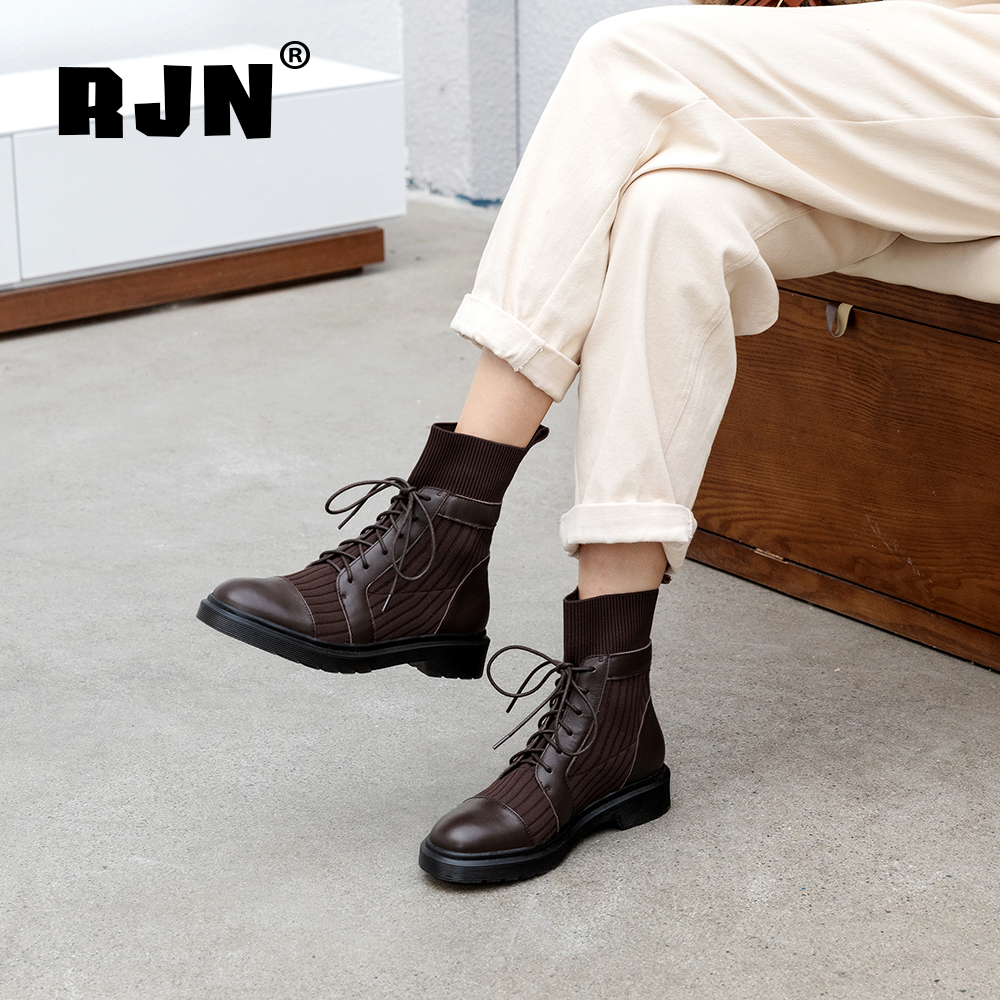 New RJN High Quality Genuine Leather Ladies Ankle Boots Knitting Lace-Up Comfortable Round Toe Square Heel Stylish Women Boots RO22