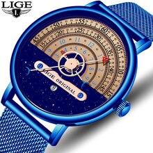 Мужские часы lige модные брендовые Роскошные ультра тонкие кварцевые