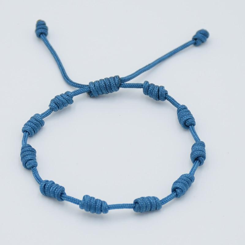 1Pc Fashion Simple Handmade Lucky Red Thread Braided Bracelets Black Blue Rope String 10 knots Bracelet For Men Women Couple