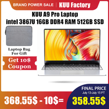 KUU A9 Pro 15.6 inch FHD Laptop For Intel 3867U Dual-core 16GB DDR4 RAM 512GB M.2 SSD camera studen game office notebook