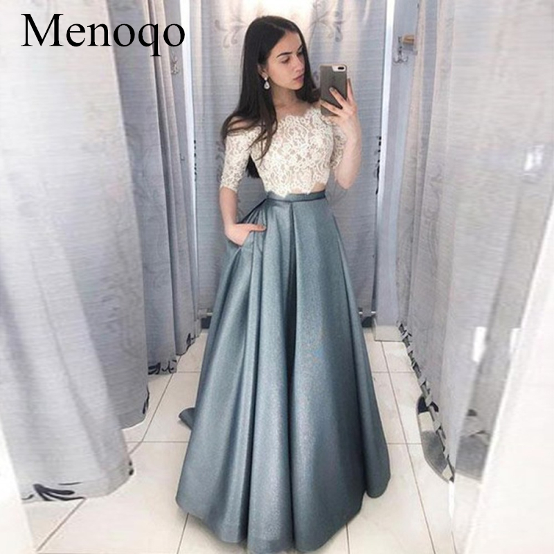 2020 New Sexy Prom Dresses Two Pieces A-line Exquisite High Quality Floor Length Fashion Party Dresses