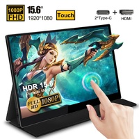 15.6 Touch Screen Portable Monitor IPS screen USB Type C HDMI display for PS4 Switch XBOX Samsung Huawei with Smart Case 1080