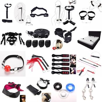 Erotic Sex Toys Handcuffs Whip Nipples Clip Blindfold Mouth Gag Adult Sex Toys Kit BDSM Bondage Toy