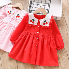 цены NEW Autumn Girl Dress Kids Children cute Dress Girls long Sleeve Cherry pattern Soft Cotton Princess Dresses Baby Girls Clothes