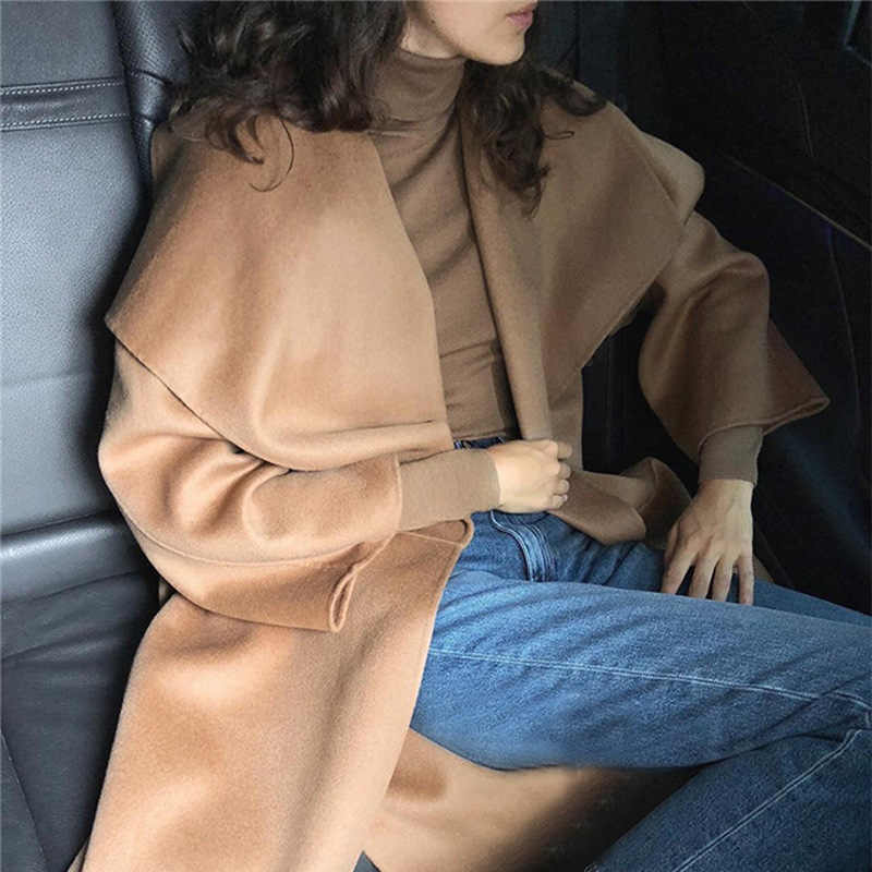 Camel Color Navais turtleneck Wool Sweaters LONG Sleeves Stretchable Jumper High quality Woman FALL WINTER JERSEY