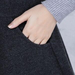 Шерстяная Юбка с высокой талией, осенне-зимняя юбка трапециевидной формы, плиссированная плотная Шерстяная Одежда, длинная юбка, короткая юбка с карманами, пышная, анти-Ex