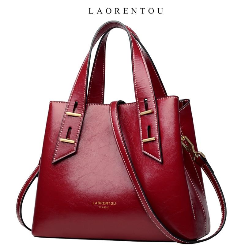 LAORENTOU Retro Handle Bag Female Fashion Design Totes Lady Large Capacity Messenger Bags Women Split Leather Shoulder Bag Purse