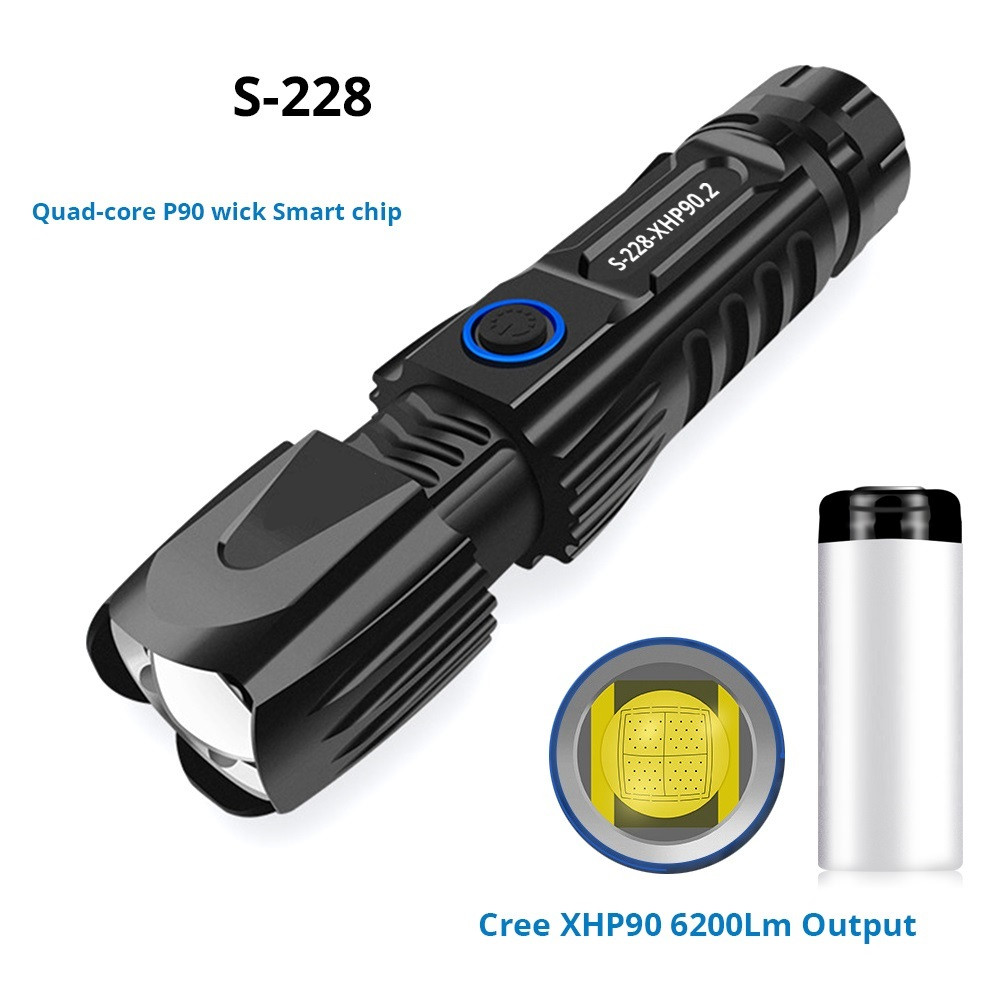 S228 LED Flashlight With P90 Lamp Bead High Power 6200LM Tactical Waterproof Torch Smart Chip Control With Bottom Attack Cone