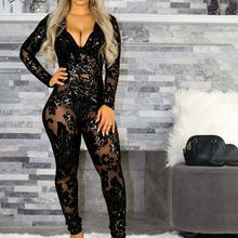 Black Sequin Floral See Through Jumpsuit Women V-Neck Long Sleeve Bodycon Jumpsuits Female Sexy Glitter Club Party Rompers Lady(China)