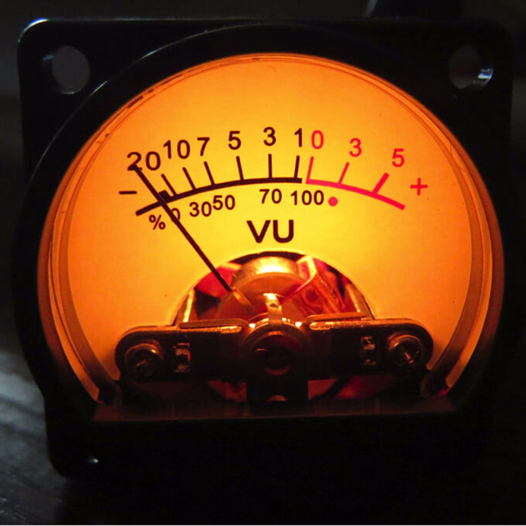 35*35mm Panel VU Meter DC/AC 6-12V Bulb Warm Back Light Recording Audio Level Amp 630 Ohm Black VU Meter For Audio Equipment