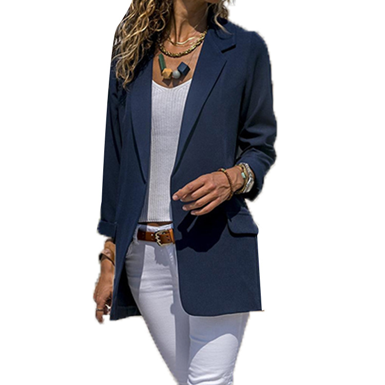 Hot Sell Ladies Small Suit Cotton Slim Solid Color Long Sleeve Single Button Tops Suit Women Blazers Streetwear Autumn Coats