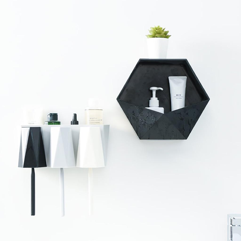 Wall Mounted Geometric Bathroom Shelf Living Room Decor Storage Rack N6Y6