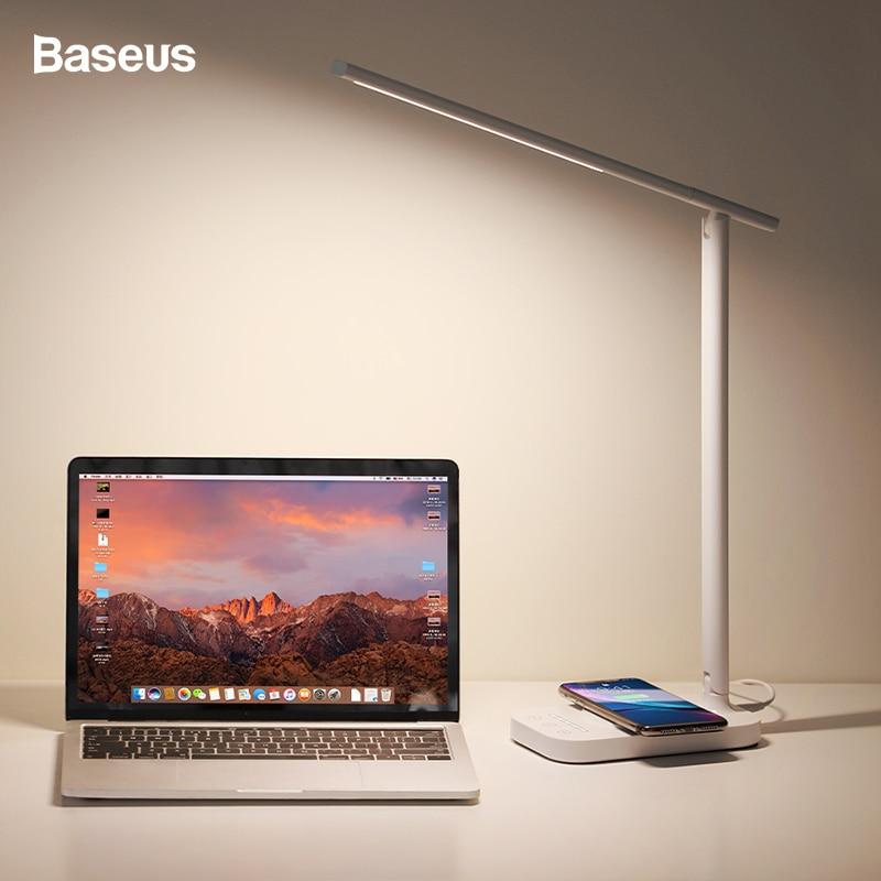 Baseus светодиодный настольный светильник Qi Беспроводное зарядное устройство для iPhone Xs samsung складной настольный светильник 10 Вт быстрая Беспр...