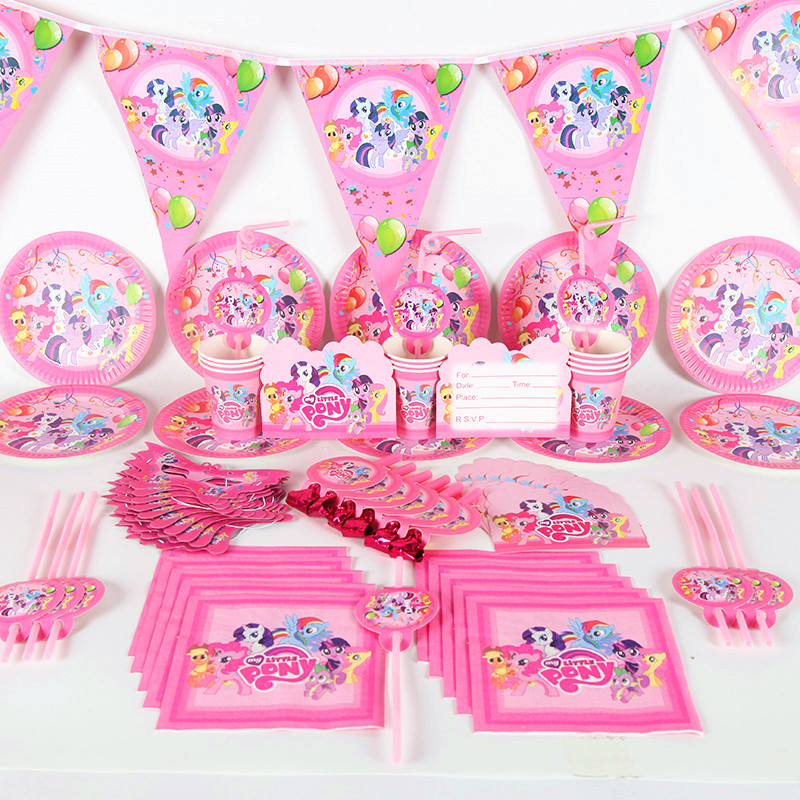 120/180Pcs/Set My Little Pony Party Disposable Tableware Set Birthday Baby Shower Theme Party Tableware Supplies Decorations