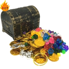 Coin-Toy Chest Pirate Treasure Treasure-Chest-Treasure Plastic Gold Child Captain Party