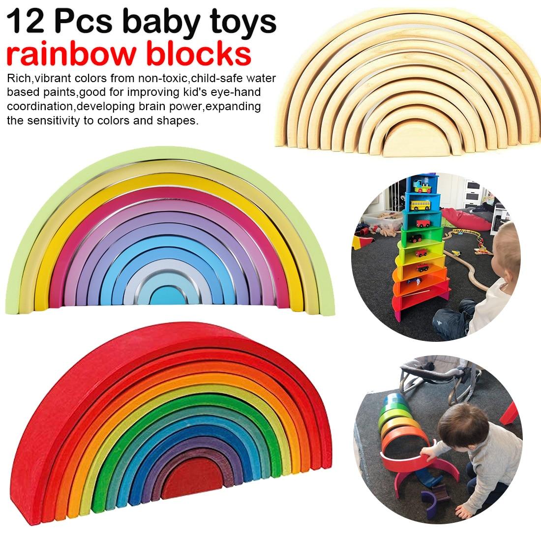12 Pcs/Lot bébé jouets arc-en-ciel blocs en bois arc-en-ciel empileur nidification Puzzle créatif blocs de construction jouets éducatifs