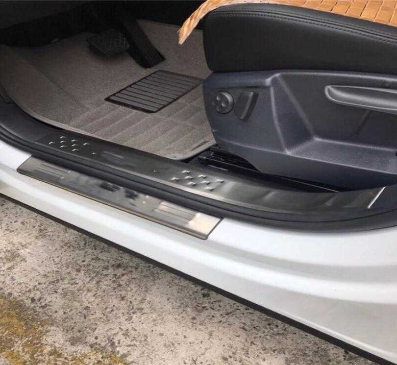 pour Volkswagen Sharan 2012-2015 Kick Plates Anti Rayures Bienvenue P/édale Autocollant Garniture Voiture Protection Style Accessoire 4Pcs Car Acier Inoxydable Seuil