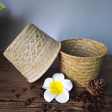 Baskets Bamboo-Storage Straw-Patchwork Laundry Kitchen Flower-Pot Folding Handmade Garden