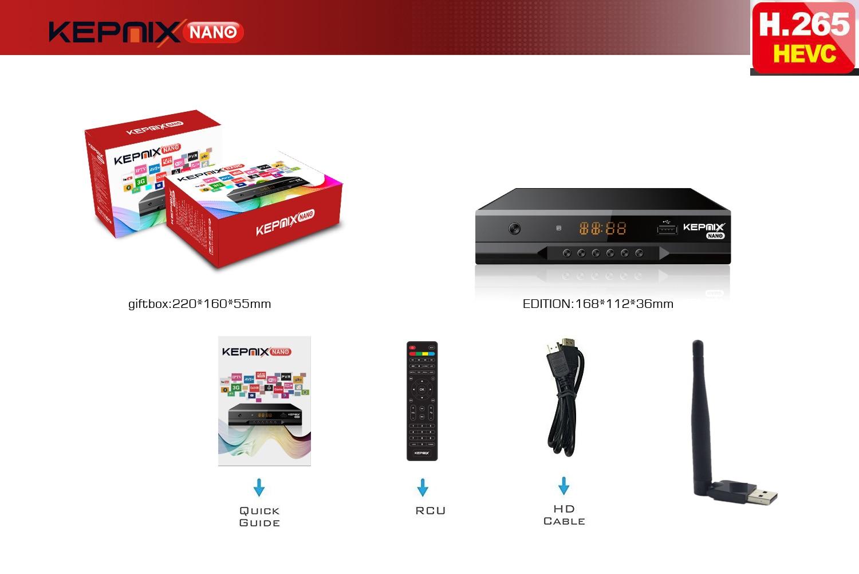 Kepnix nano h.265 sunplus процессор hevc-цифра спутниковый телевизионный ресивер поддерживает powervu autoroll biss 2xusb порта 1ptv цифровая ТВ-приставка