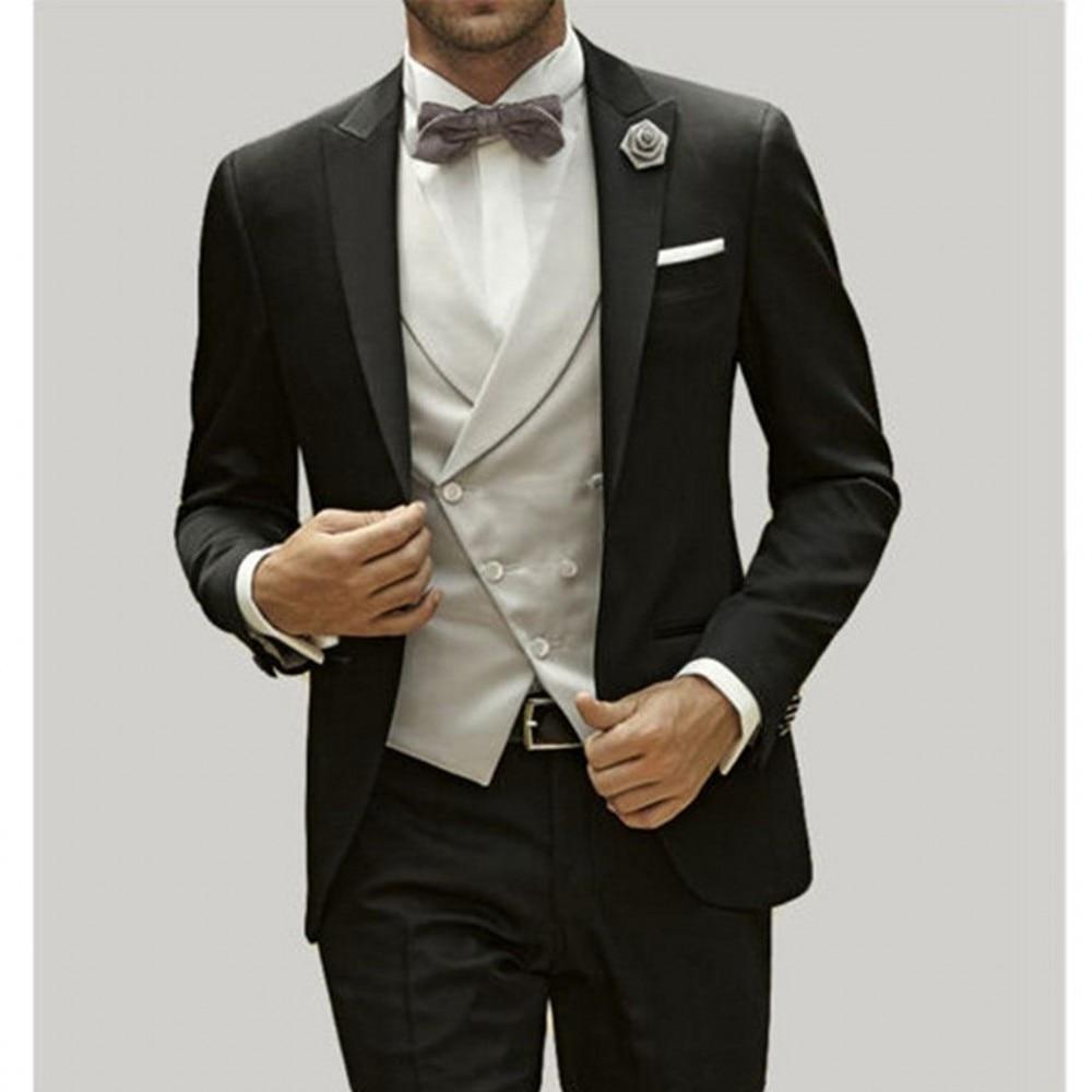 Brand New Groomsmen Black Groom Tuxedos Peak Satin Lapel Men Suits Wedding Best Man 3 Pieces ( Jacket+Pants+Vest+Tie ) C813