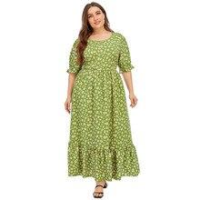 Floral boho praia vestido feminino verão manga curta floral impressão babados vestidos maxi vestido longo 5xl plus size roupas femininas