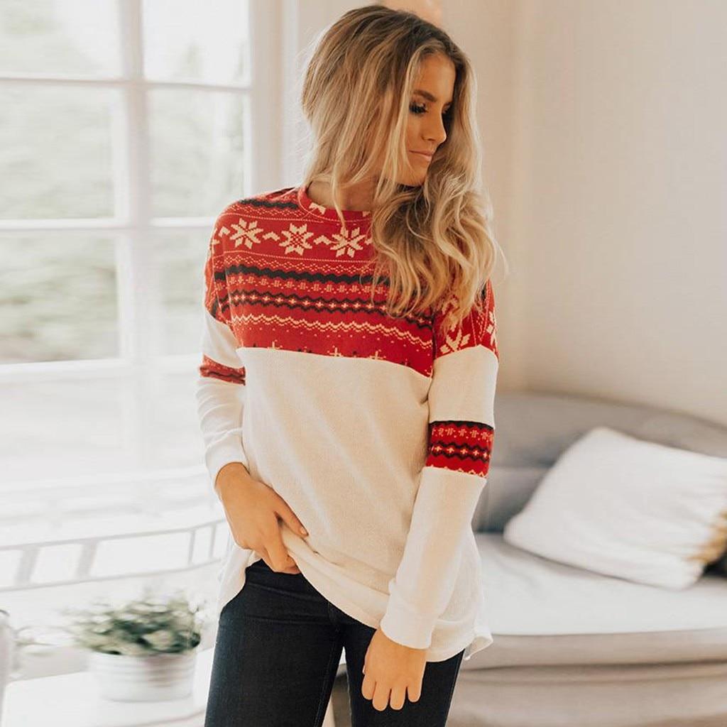 poleron mujer hoodies women Christmas Red Splice Irregular Sweatshirt Print Pullover Elk Tops bluzy damskie