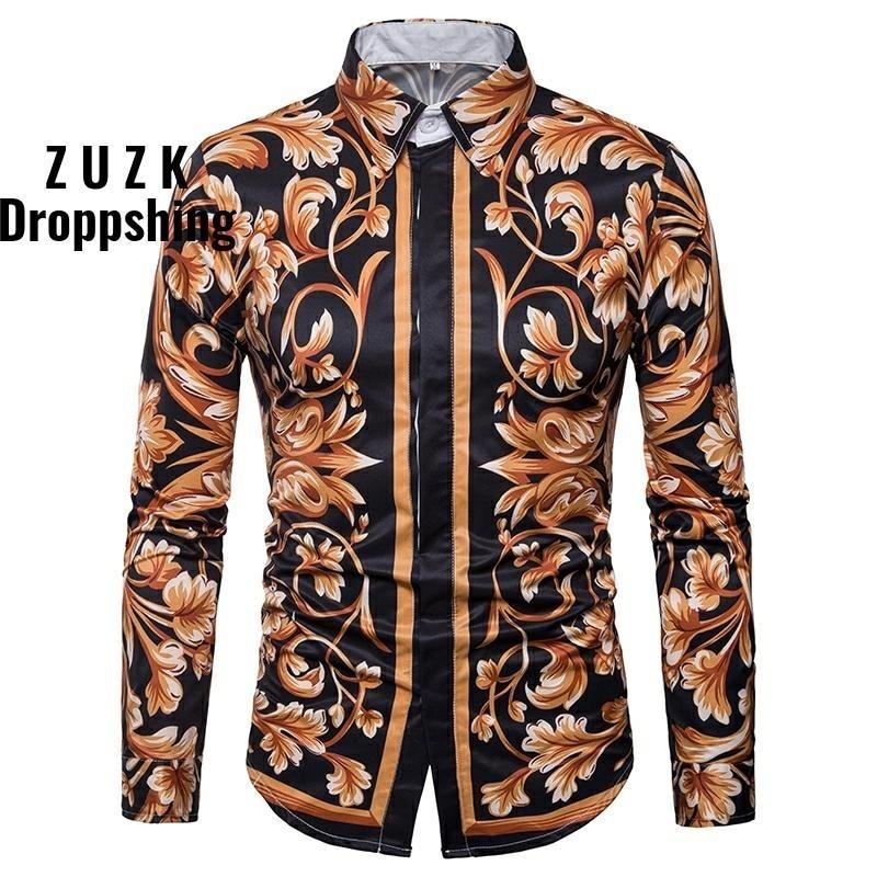 Men's Luxury Retro Floral Print  High Grate Tuxedo Shirts Men Long Sleeve Slim Fit Chic Party Men Shirt