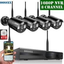 Sistema de câmera de segurança sem fio 8ch 1080 p nvr kit 4 pces 720 p (1.0 m) cctv ao ar livre sem fio ip67 câmera de vigilância de vídeo por oossxx