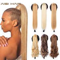 AISI HAAR Synthetische Gefälschte Haar Umlaufende Pferdeschwanz Extensions 16 Farben Erhältlich Hohe Temperatur Faser für Frauen