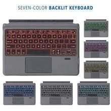 Mini clavier sans fil Bluetooth à économie d'énergie, rétroéclairé, 7 couleurs, pour Microsoft Surface Go, nouveauté 2020