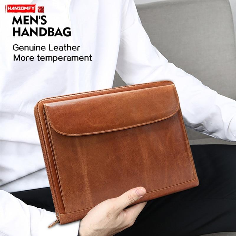 2019 New Genuine Leather Men Handbag A4 Business Briefcase File Bag Male 13.3 Inch Computer Bag  Cowhide Envelope Bags